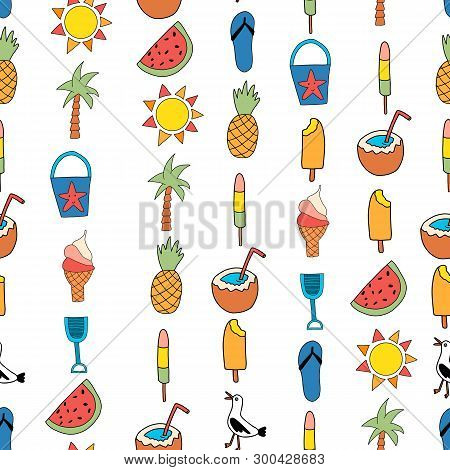 Seamless Vector Background Summer Icons. Repeating Pattern With Watermelon, Popsicle, Pineapple, Coc