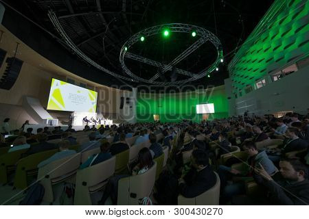 Skolkovo, Russia - April 16, 2019: People attend business forum in large congress hall