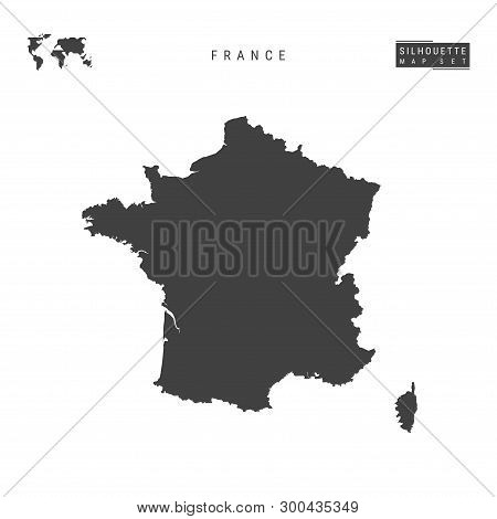 France Blank Vector Map Isolated On White Background. High-detailed Black Silhouette Map Of France.