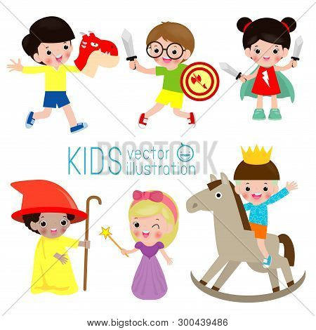 Set Of Cute Kids Wearing Costumes Isolated On White Background, Little Children In Their Fairy Tale