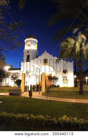 Front View Of Carmen Parish Church (parroquia Nuestra Senora Del Carmen) At Night, Fuengirola, Costa