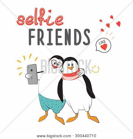 Friends Take Selfies. Penguins In The Style Of Comics. Design For Sticker, Patch, Poster, Personal D