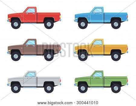 Off-road 4x4 Pickup Cars Set. Side View Offroad Car In Different Colors. Flat Style Pickup. Vector I