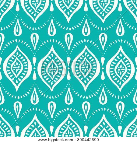 Aqua Handdrawn Lace Pattern With Diamonds And Dots. Classic Elegant Vector Seamless Background Perfe