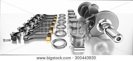 3d Rendering. Crankshaft For 6v Cylinders Engine. Truck Crankshaft On Grey Background. Engine Bearin