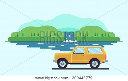 Outdoor Car Travel Concept. Offroad Suv Landscape. Summer Auto Adventure Trip Backgrounds. Flat Styl