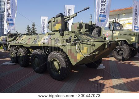 Kiev, Ukraine - October 10, 2018: Armored Personnel Carrierf Btr-4 The Ukrainian Production At The W