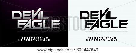 Modern Sport Typography Fonts Technology, Digital, Movie Logo. Alphabet Silver Metal Regular Font. V