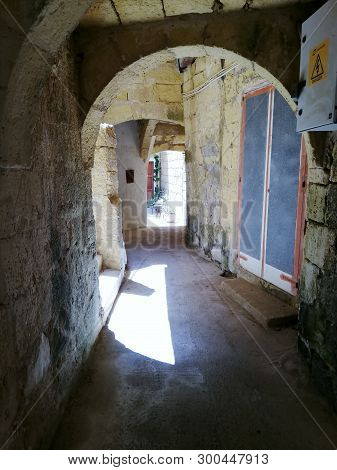 Historic Passages Leading To Historic Farm House In The Village Of Kercem On The Maltese Island Of G