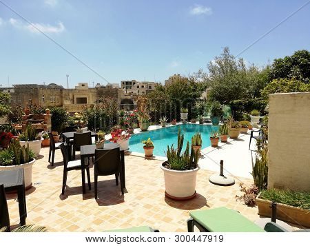 Gozo, Malta  Farm House Pool Awaits The Arrival Of The Summer Tourists.