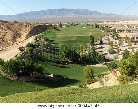 Golf Course In Mesquite, Nv. Usa, In The Heart Of The Nevada Desert.