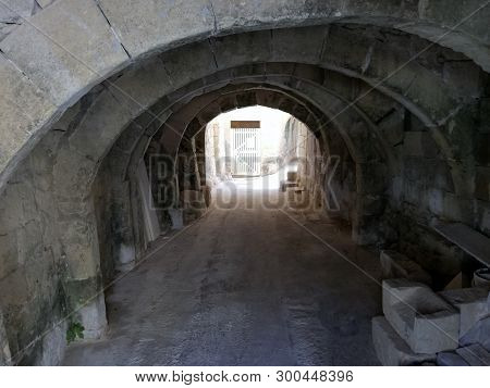 Ancient Tunnel From The Days Of The Knights In The Village Of Kercem, Gozo, Malta