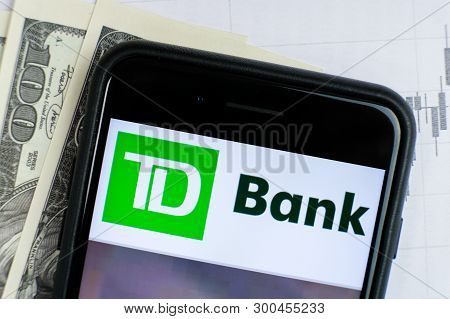 Russia, St.petersburg, April 4, 2019: Site With Logo Of The Bank Td Group Us Holding In The Smartpho