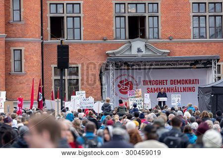 Umea, Sweden - May 1, 2019 - Stefan Löfven Prime Minister Of Sweden Making A Speach Outside The Town