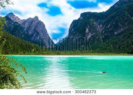 Toblacher See, (italian: Lago Di Dobbiaco)  A Lake In South Tyrol, Italy.