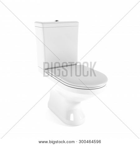 Toilet. White porcelain flush toilet with closed seat. 3d rendering illustration isolated on white background poster