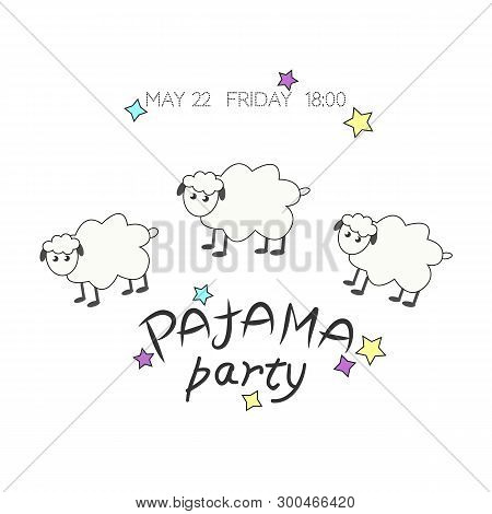 Cozy Vector Illustration With Cute Sheep, Stars And Text