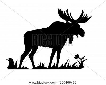 Black Silhouette Of One Moose Standing In The Grass On A White Background