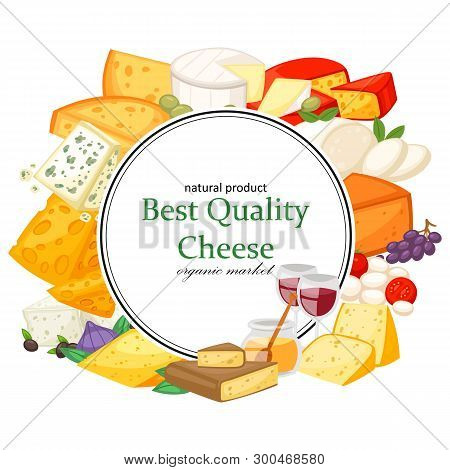 Best Quality Special Cheeses Realistic Icomposition With Edam Maasdam Parmesan And Dorblu, Gouda, Br