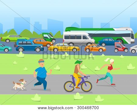 City Traffic With Transport Vehicles Banner. Set Of Transportation Tools With Bus, Bicycle, Cars And