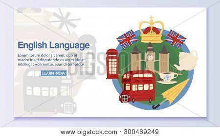English Language Banner Web Design Vector Illustration. Learning Foreign Language Online Via Interne