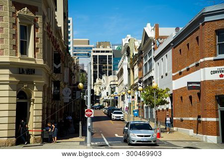 Perth, Australia - March , 2019: Commercial Buildings On King Street In The Cbd