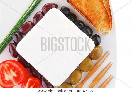 image of soft cheese and tomatoes with olives