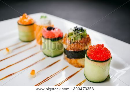 Sushi Rolls Degustation, Fusion Food Style Restaurant Menu, Deluxe Gastronomy. Set Of Finest Seafood