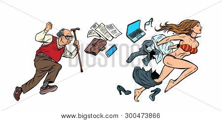 Discrimination Against Women. The Old Man Is Chasing A Beautiful Girl. Archaic And Emancipation. Ema