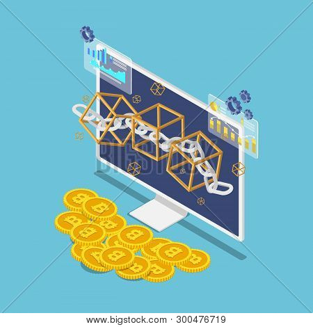 Flat 3d Isometric Blockchain Symbol On Monitor And Bitcoin. Blockchain Technology And Cryptocurrency