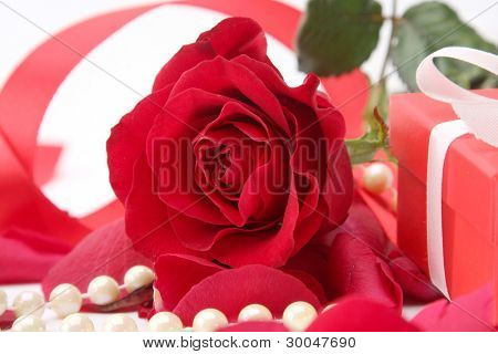 Gift box and rose petals on white background.