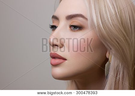 Beauty Fashion Woman Lips With Natural Makeup And Beige Nail Polish Matte Lipstick And Nails.beauty