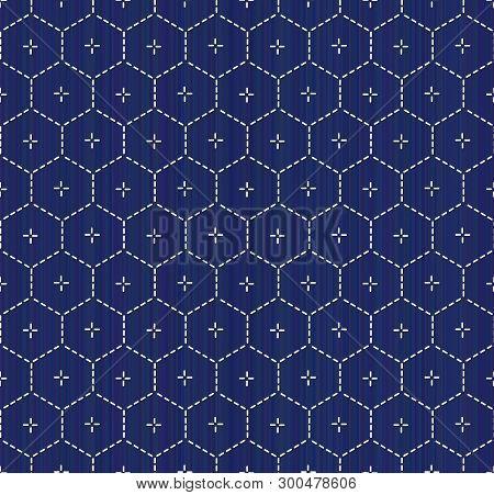 Kimono Pattern. Sashiko. Abstract Hexagon Seamless Texture. Japanese Embroidery Ornament. White Stit