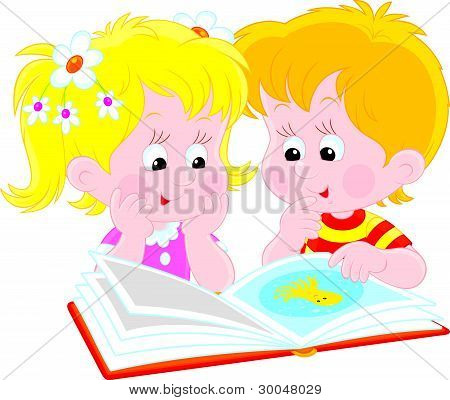Girl and boy read a book