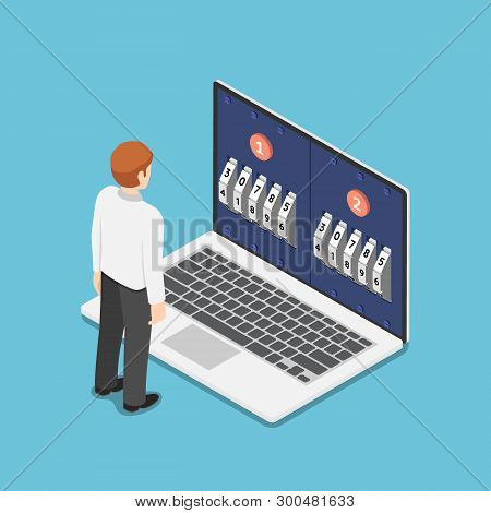 Flat 3d Isometric Businessman Standing In Front Of Laptop With Two Step Password Verification. Multi