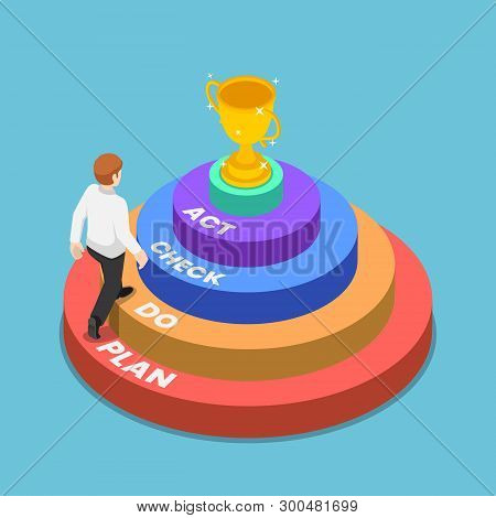Flat 3d Isometric Businessman Walking Up Pdca Plan Do Check Act Ladder To Success Trophy. Continuous