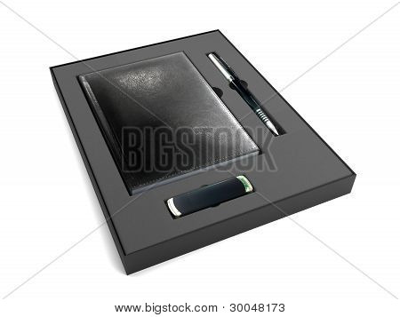 Black Box with notepad, pen and flash drive