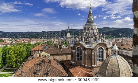 Turin, Torino, Aerial Timelapse Skyline Panorama With Mole Antonelliana, Monte Dei Cappuccini And Th