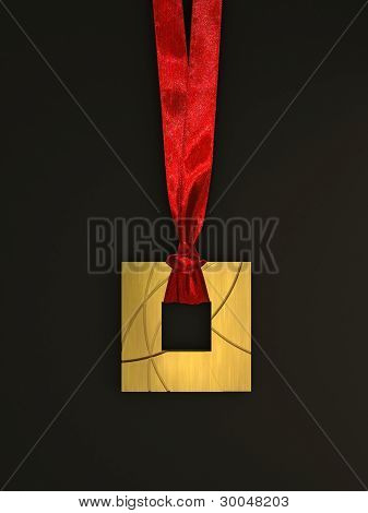 Golden Medal with Red Ribbon on the dark background