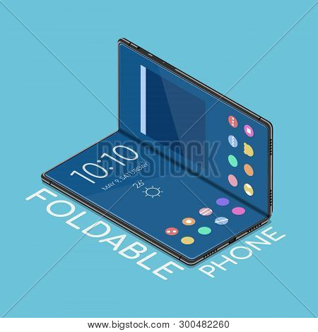 Flat 3d Isometric Foldable Smartphone That Display Is Flexible To Bend. Business And Technology Conc