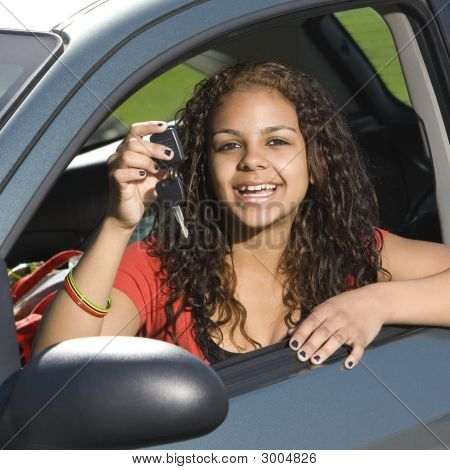 Happy Teen With Keys To Car