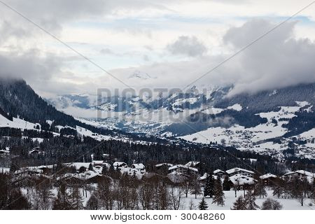 View from Above on Mountain Village of Megeve in French Alps poster