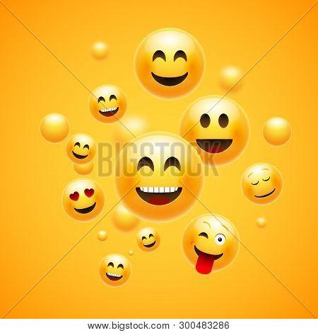 Emoji 3d Emoticon Background. Cartoon Face Group Smiley Happy Friendship Emoji Funny Design Concept