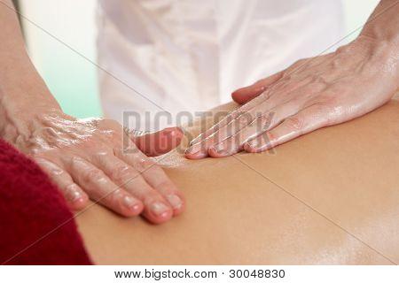 Detail woman having back massage
