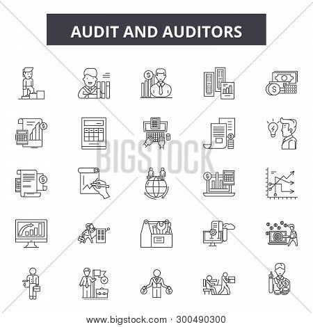 Audit And Auditors Line Icons, Signs, Vector Set, Linear Concept, Outline Illustration