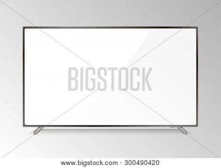 Lcd Tv Screen. Modern Television Display. Isolated Led Monitor. Home Hdtv Plasma With White Screen.
