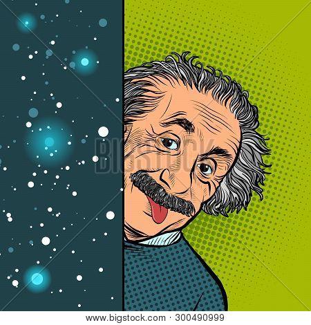 Moscow, Russia - April 11, 2019. Albert Einstein, Scientist, Physicist, Hand-drawn Portrait. Science