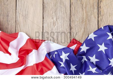 American Flags On Old Wood For Background,image For 4Th Of July Independence Day,presidents' Day,mar