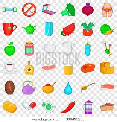 Dietary Product Icons Set. Cartoon Style Of 36 Dietary Product Vector Icons For Web For Any Design