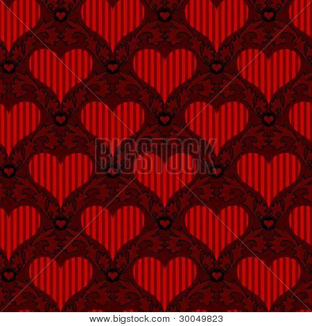 red striped heart seamless background